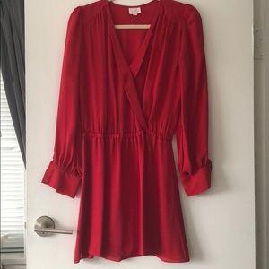 Parker red silk blouse dress